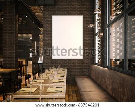 Royalty Free Stock Illustration Of Interior Vintage Restaurant Blank
