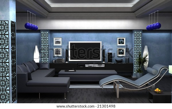 Interior Visualization Asian Themed Living Room Stock ...