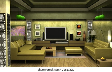 Interior visualization of a living room.