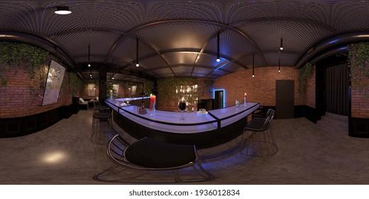 interior visualization, spherical panorama, 3D illustration