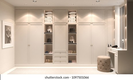 Interior walk-in closet, simple classic style, 3D rendering, 3D illustration