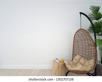 Interior wall mock up with chair, coffee table and plant in living room with empty white wall. Wall art. 3d illustration, 3d rendering