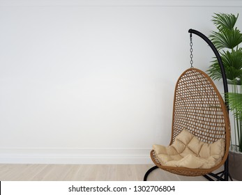 Interior wall mock up with chair, plant in living room with empty white wall. Wall art.. 3d illustration, 3d rendering