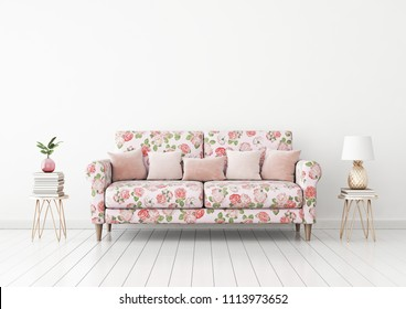 Interior wall mock up with flower pattern sofa, pink pastel pillows, pineapple lamp and plant in vase in living room with empty white wall. 3D rendering.