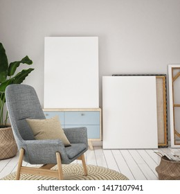 Interior wall mock up on white background, 3D rendering, 3D illustration