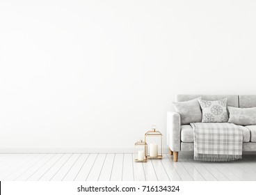 Interior wall mock up with velvet sofa, pillows, plaid and lanterns on empty white background. 3D rendering.