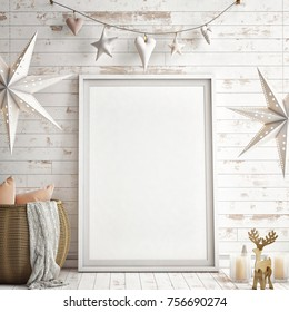 Interior wall mock up with vertical poster, pillows and Xmas stars,  background,  3D illustration