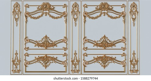 Interior wall with molding. 3d illustration