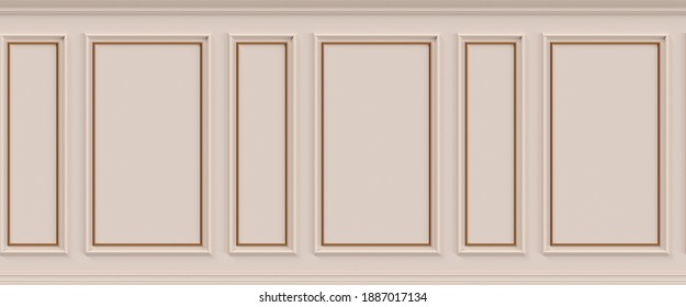 Interior wall with molding. 3d illustration. Seamless pattern