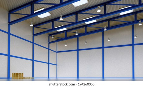 Interior of a warehouse - empty space of magazine with blue colour construction and beam light - 3d render illustration image