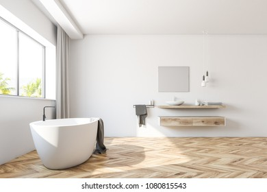 Interior of a white bathroom with a wooden floor, a large window with gray curtains, a white bathtub and a sink. 3d rendering