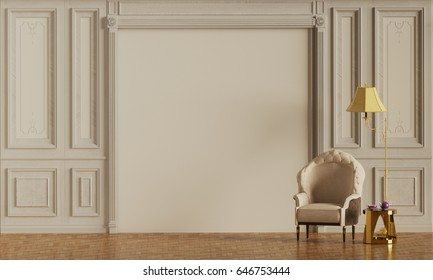 Interior with white classic armchair and gold lamp in the living room and coffee table in gold color, clean white wall, 3D rendering