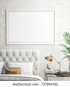 Interior of white, gold and gray cozy bedroom, interior background, 3D illustration