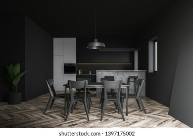 Interior of white and gray kitchen with black countertops, gray bar, dark wooden dining table with chairs and cabinet with built in oven. 3d rendering