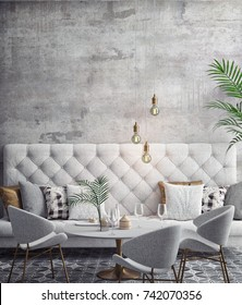 Interior of white and gray modern restaurant, interior background, 3D rendering, 3D illustration