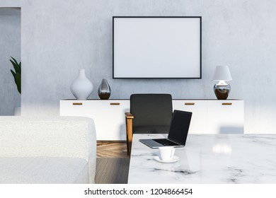 Interior of white living room with white walls, wooden floor, white sofa, gray armchair and white marble table. 3d rendering Horizontal mock up poster frame