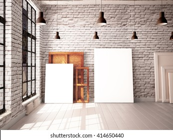 interior with a window in the loft-style with posters and paintings. 3d