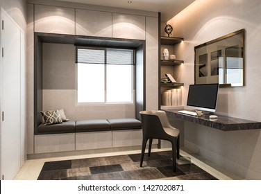 Interior working space, modern style, 3D rendering, 3D illustration