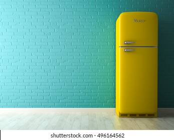 Interior with yellow fridge 3D rendering