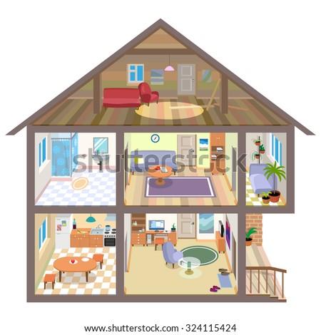 Interiors Rooms House Stock Illustration 324115424 - Shutterstock