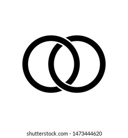 Interlocking circles, rings contour. Circles rings concept icon
