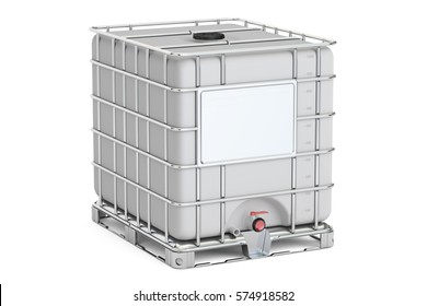 Intermediate bulk container closeup, 3D rendering isolated on white background