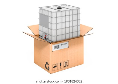Intermediate bulk container inside cardboard box, delivery concept. 3D rendering isolated on white background