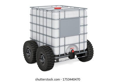 Intermediate Bulk Container Tank with car wheels, 3D rendering isolated on white background