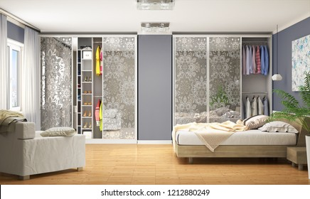 Internal modern wardrobe for the bedroom. Wardrobe Coupe. 3d illustration