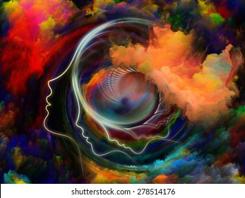 Internal Recurrence series. Interplay of human profile and fractal forms on the subject of inner reality, mental health, imagination, thinking and dreaming