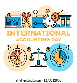 International accounting day banner. Outline illustration of international accounting day banner for web design