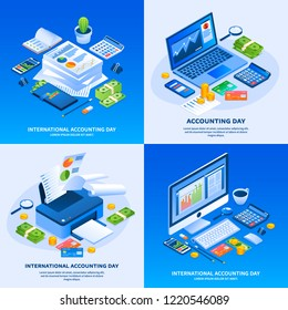 International accounting day banner set. Isometric set of international accounting day banner for web design
