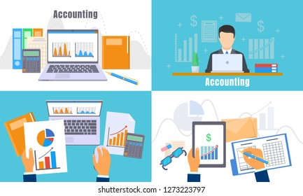 International accounting day banner set. Flat illustration of international accounting day banner set for web design