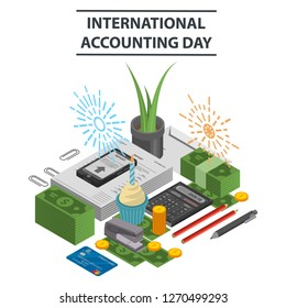 International accounting day concept background. Isometric illustration of international accounting day concept background for web design