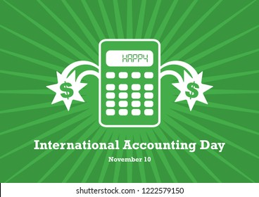 International Accounting Day illustration. Calculator on a green background. Simple calculator icon. Important day