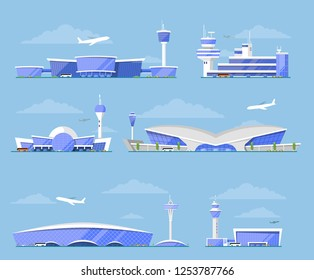 International airport architecture. Modern glassy passenger terminal, flight control tower, plane arrivals illustration. Worldwide traveling, air transportation business, commercial airline set