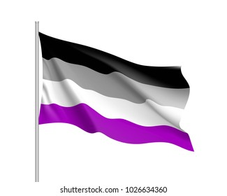 International asexual waving flag, people movement, realistic icon. Canvas for all who abandoned sex life, not experiencing attraction and so on.  illustration of a colorful element