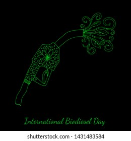 International Biodiesel Day. Concept of an ecological holiday. 10th of August. Refueling pistol, from which the leaves and flowers are flowing. Hand drawing. Black background
