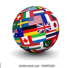 International business, travel services and global management concept with a globe and international flags of the world 3d illustration on white background.
