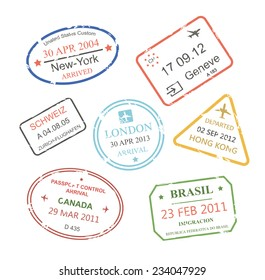 International business travel visa stamps set   illustration