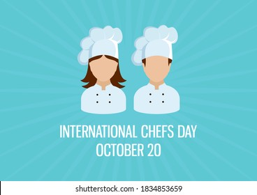 International Chefs Day illustration. Female and male chef icon set. Woman and man chef abstract icons. Chefs Day Poster, October 20. Important day