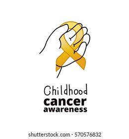 International Childhood Cancer Day, design element. Golden ribbon is a symbol of childhood cancer