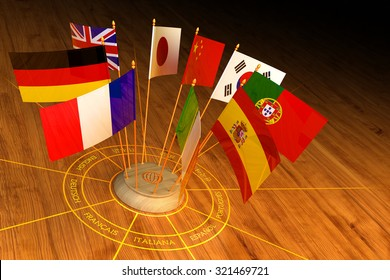 International communication, diplomacy and foreign language translation concept, circle from national flags of the world countries on wooden background