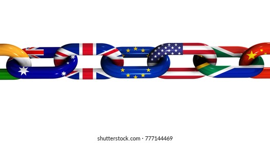 International cooperation and business collaboration concept with world flags on a chain 3D illustration on white background.