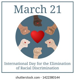 International day for the elimination of racial discrimination. March 21. March holiday calendar. People's hands with different skin color together. Race equality, diversity, tolerance. Illustration.