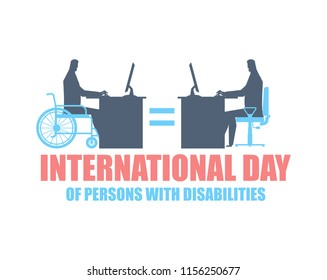 International Day of Persons with Disabilities. disabled at work. manager on wheelchair at table. Equal rights for people with disabilities