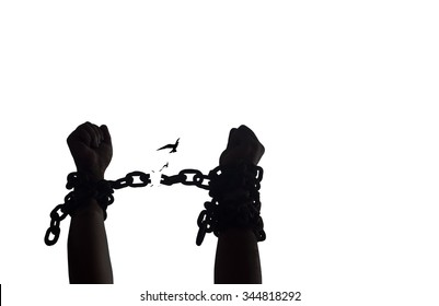 International day for the remembrance of the slave trade and its abolition concept: Silhouette slave hands raising and broken chains with bird flying isolated on white background