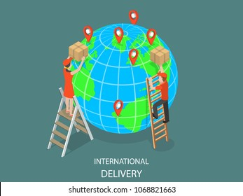 International delivery flat isometric concept. Couriers are delivering parcels to the globe model using ladders. Global logistic, worldwide freight shipping.