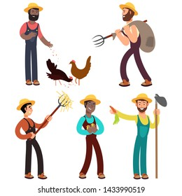 International farmers team cartoon illustration. Farmer character profession, occupation agriculturist