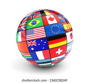 International flags globe. Business, travel and global management concept with international country flags of the world 3D illustration isolated on white background.